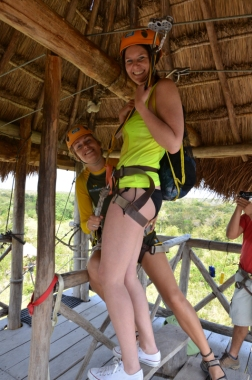 Claire getting ready to zipline