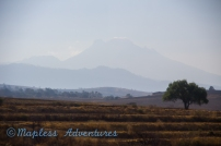Driving between Mexi City and Puebla- Active Volcano
