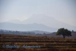 Driving between Mexi City and Puebla- Active Volcano